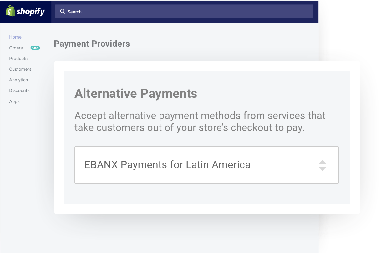 EBANX as an alternative payment method within Shopify